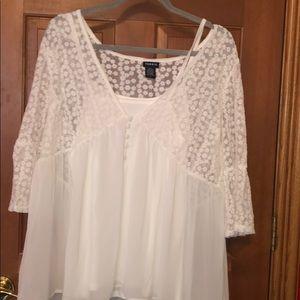 White chiffon lace top